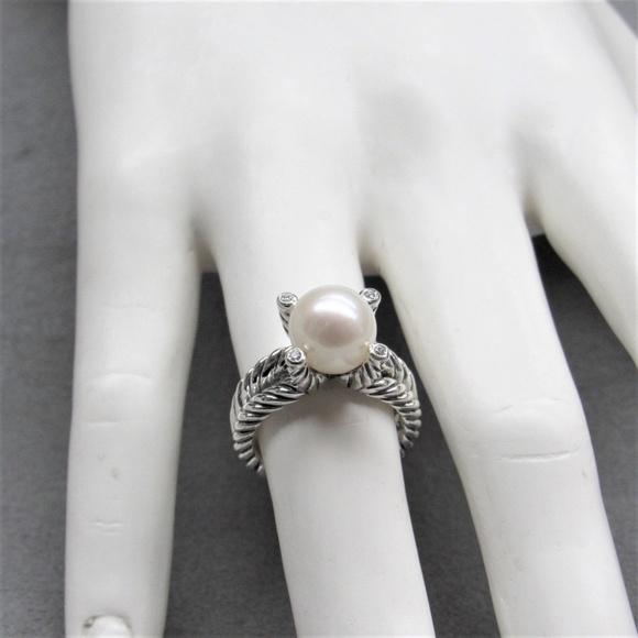 395d123c670e9 David Yurman Cable Pearl with Diamond Ring, 6.5 NWT